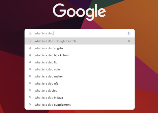 """Google autocomplete results for """"what is a dao"""""""
