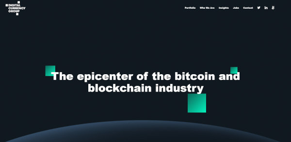 The homepage of Digital Currency Group.