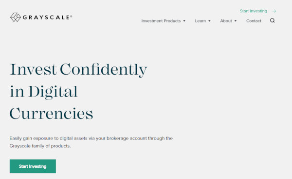 The homepage of Grayscale.