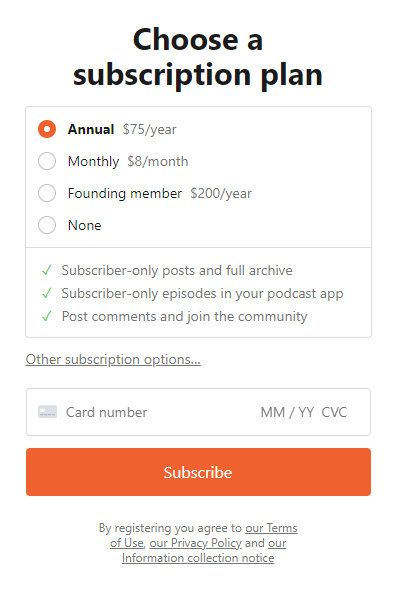 An example of a Substack newsletter.