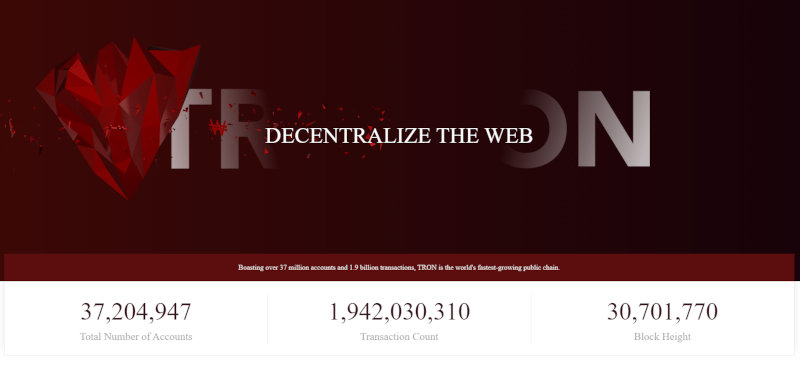 The homepage of the TRON website.