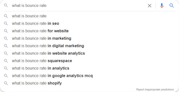 """""""What is bounce rate"""" suggestions"""