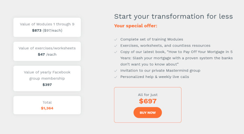 Financial Freedom Academy pricing.