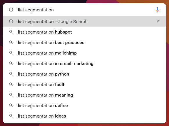 """Autocomplete results for """"list segmentation"""" on Google Search."""