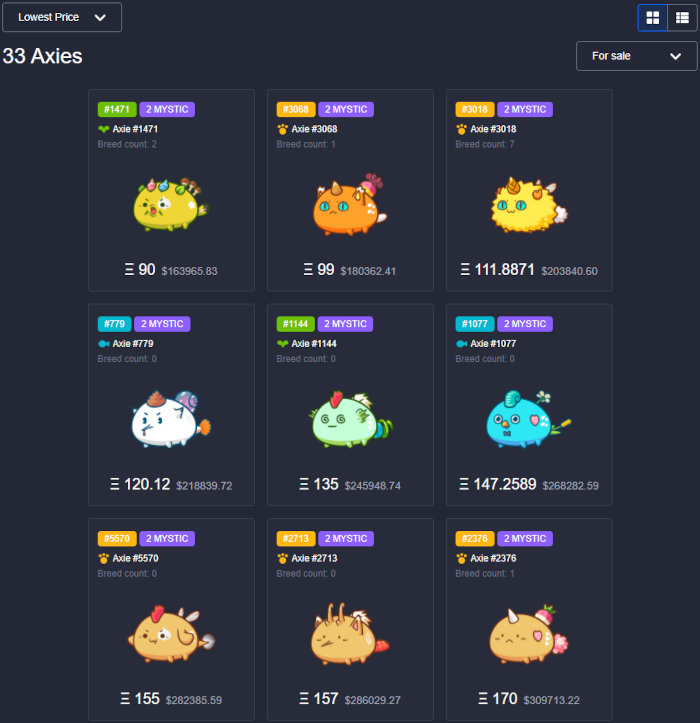 Mystic Axies on the Axie Infinity marketplace.