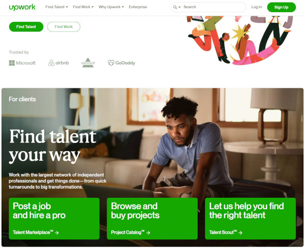 Upwork homepage, and how to hire a virtual assistant on Upwork.
