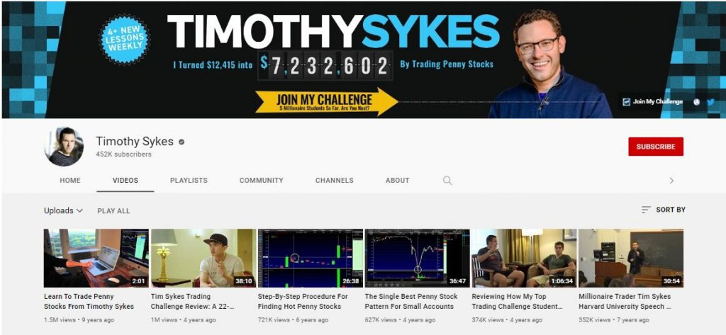 Timothy Sykes YouTube Channel