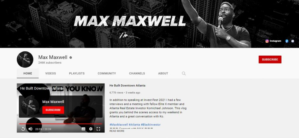 Max Maxwell YouTube Channel